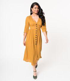 Vintage Style Mustard Yellow Cotton Blend Button Up Midi Dress 70979ff6c
