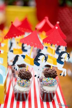 Party Ideas - I like the striped tablecloth runner (can use a roll of gift wrap for this idea) also the Big Top carousel horse. Clown Party, Circus Carnival Party, Circus Theme Party, Circus Birthday, Birthday Party Themes, Casino Theme Parties, Carousel Birthday, Diy Party, Party Gifts