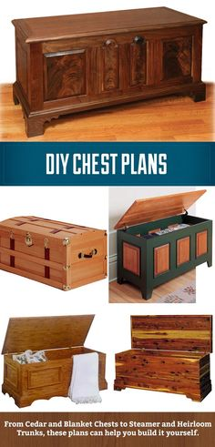DIY Chest Plans, from cedar and blanket chests to heirloom and steamer trunks. These plans can help guide you through the process of making a unique heirloom.