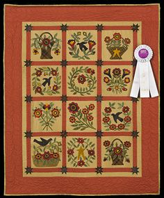 2013 Quilt Expo Quilt Contest, 3rd Place, Category 8, Wall Quilts, Machine Quilted Appliquéd: Summertime, Elizabeth Crawford, Frankfort, Mich.