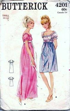 Vintage 60s Nightgown 2 Lengths Lingerie Sewing Pattern SM 10-12