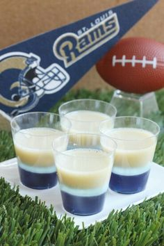 Louis Rams Jell-O Shots oz. box berry blue Jell-O 4 envelopes Knox plain gelatin 2 cup vodka Navy blue food coloring 1 cup Milk cup granulated sugar Brown food coloring Yellow food coloring) Super Bowl Party, Cool Whip, Bloody Mary, Buffalo Chicken, Blue Jello Shots, Jelly Shots, Brown Food Coloring, Super Bowl Essen, Jello Shot Recipes