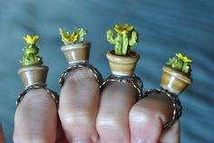 Adjustable ring cactus in a pot Yellow flower by Sifakacreations