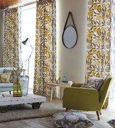 Shop for Fabric at Style Library: Blomma by Scion. A captivating floral trail fabric depicting overlapping stylised flower heads and leafy branches. Curtain Fabric, Curtains, Scion Fabric, Stores, Living Area, Living Rooms, My Dream Home, Fabric Design
