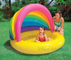 Kids Inflatable Swim Pool Floats Toys Funny Air Mattress infants Courtyard Rainbow Swim Ring swimming pool accessories