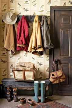Amp Up the Entryway - The color copies of seven antique bird print book pages for $7 each line the walls of this mudroom.