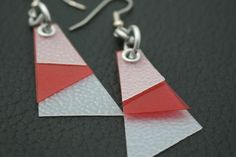 Recycled Milk Jug Earrings with Thin Red Acrylic Plastic