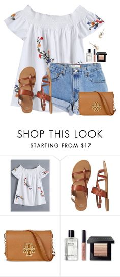 """""""Only 2 more followers!!"""" by flroasburn ❤ liked on Polyvore featuring Levi's, Gap, Tory Burch, Bobbi Brown Cosmetics and J.Crew"""