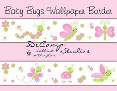 Mint Green and Pink Butterfly, Ladybug, and Dragonfly Bugs Floral Wallpaper Border Wall Decals for baby girl nursery or children's bedroom decor #decampstudios