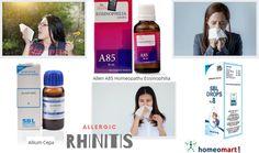 Homeopathy medicines like Allium Cepa, Histaminum 1M, Merc Sol, SBL drops #8, Schwabe Alpha RC are indicated for Allergic Rhinitis. Buy medicines online