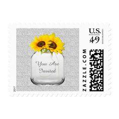Mason jar sunflower wedding postage stamp sunflwr8