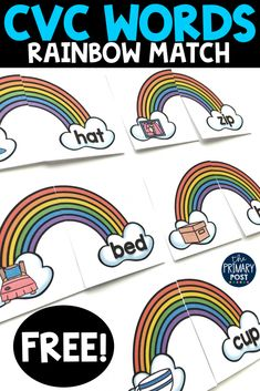 A fun spring themed way for kids to work on reading CVC words. Perfect for kindergarten kids. kindergarten CVC Words Rainbow FREEBIE - The Primary Post Kindergarten Freebies, Kindergarten Centers, Kindergarten Classroom, Literacy Centers, Classroom Ideas, Kindergarten Morning Work, Classroom Freebies, Literacy Stations, Early Literacy