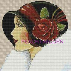 art deco cross stitch patterns   ... Lady in Black Cap - Art Deco Counted Cross Stitch Pattern Chart   eBay