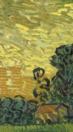 Detail of 'Landscape at Twilight', June Vincent van Gogh - Credits (obliged to state): Van Gogh Museum, Amsterdam (Vincent van Gogh Foundation). List Of Paintings, Dark Paintings, Van Gogh Paintings, Dark Tree, Van Gogh Art, Van Gogh Museum, Drawing Style, Detail Art, Vincent Van Gogh