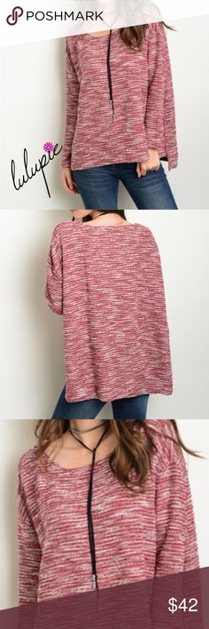 """🆕 Burgundy Oversized Long Sleeve Sweater Black oversized Long sleeve marled light weight sweater top with a hint of Ivory featuring a round neckline and two small side zippers for an added style. Made of 50/50 Poly- rayon blend.  Measurements for small Length: 23"""" Bust: 52"""" These are oversized and large can fit up to XL  ✔️ Bundle Discounts  ✔️ Reasonable Offers through offer button  ❌ Low Balling  ❌ Trades Bchic Sweaters"""