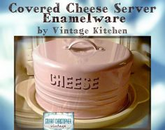 Vintage Kitchen Enamelware covered cheese by stuartchristopher, $29.00
