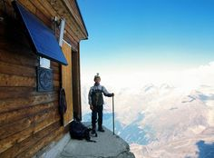 The Solvay Hut is the highest hut on the Matterhorn at 4,003 meters (13,133 ft). Situated on a ledge immediately above the Moseley Slab on the Hörnligrat.