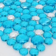 Wholesale 11SF swimming pool glass pebble free size blue crystal clear glass droplet mosaics tile bath decor hotel salon tiles