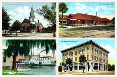 Postcard images of Eustis before World War I:    Top, left--The Church of Christ, on the northwest corner of Orange Avenue and Center Street, was built in 1894.    Top, right--The depot, on the southwest corner of Magnolia Avenue and Bay Street, was built before 1890. By 1956, it was demolished to make room for a bank.   .