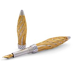 Jack Row Architect Fountain Pen: 18k Yellow Gold - Sapphires