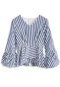 Turn to Stripe Page Top with Balloon Sleeves - New Arrivals - Retro, Indie and Unique Fashion
