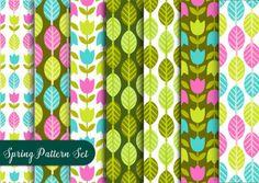 Conjunto padrão floral colorido Vetor grátis