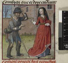 Pauvrete and Richesse. Harley 4425, Guillaume de Lorris and Jean de Meun, Roman de la Rose Netherlands, S. (Bruges); c. 1490-c. 1500