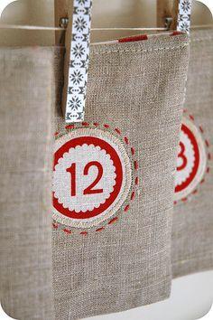 Linen advent pockets