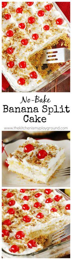No-Bake Banana Split Cake ~ All the fabulous flavors of a scrumptiously melty banana split sundae, in an easy to prepare no-bake dessert!   http://www.thekitchenismyplayground.com