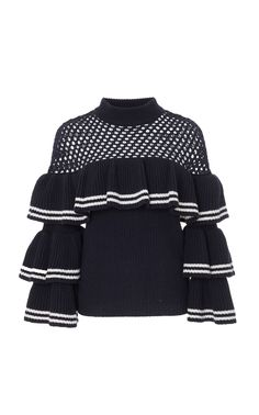 Open-Knit Wool and Cotton-Blend Sweater by SELF PORTRAIT Now Available on Moda Operandi