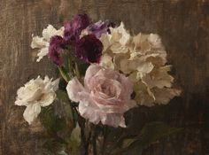 Pink Rose and Purple Iris, oil on panel, 12 x 16 inches - Michael Klein