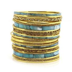 """Metal And Shell Bangle Set; 2.5"""" Diameter; 24 Pieces; Gold Metal With Blue Shell; Clear Rhinestones; Eileen's Collection. $24.99"""