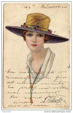 DONNA CON CAPPELLO - 1919 / ILLUSTRATORE COLOMBO
