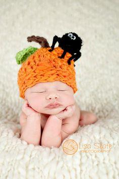 Pumpkin Hat .. Newborn Photo Prop ... Newborn Halloween Hat ... Spider ... Costume ... Pumpkin Surprise NEWBORN size
