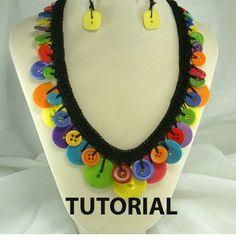 Crochet Button Necklace Tutorial