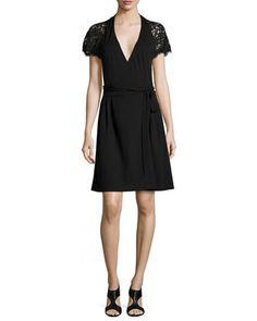 Elizabeth+Lace-Sleeve+Wrap+Dress++at+CUSP.