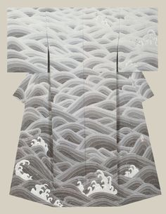 """Poetry of the waves"", a kimono created by artist Takahashi, Takayuki . Fine Work award from the Japan Dyers Association"