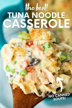 Our Tuna Casserole is classic, creamy comfort food that is easy-to-make and perfect for when you need a little love from the kitchen. Tuna Casserole Recipes, Noodle Casserole, Side Dish Recipes, Wine Recipes, One Pot Meals, Easy Meals, Best Dinner Recipes, Family Recipes, Lunch Snacks