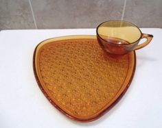 Amber Snack Plate Set, Indiana Glass, Daisy and Button