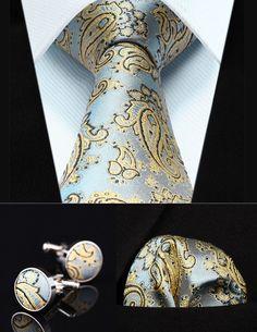 """TZP14C8 Blue Yellow Paisley 3.4"""" Silk Men Tie Necktie Handkerchief Cufflinks Set"""