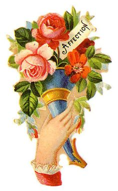 Glanzbilder - Victorian Die Cut - Victorian Scrap - Tube Victorienne - Glansbilleder - Plaatjes : Hand mit Blumen - hand with flowers - Main avec des fleurs - Glanzbild - Victorian Die Cut - tube victorienne - clipart Vintage Ephemera, Vintage Cards, Vintage Postcards, Victorian Tattoo, Victorian Crafts, Victorian Valentines, Doodle Inspiration, Classic Tattoo, Vintage Scrapbook