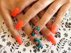 Found another great nail design, re pin and share for others ((TAB)) Acrylic overlay with orange and green gel polish with one stroke nail art on ring finger