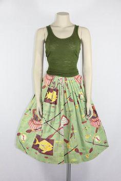 1950's Skirt - Vintage Novelty Print FISHING Scene Skirt - VintageFrocksOfFancy