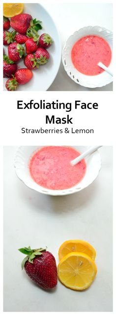 This face mask use the power of two amazing ingredients:Strawberries & Lemon.  Strawberries are a natural source of salicylic acid, a common acne treatment, and lemon boosts collagen production and promotes skin elasticity. Also,salicylic acid makes your skin pores  smaller and your face look brighter and shinier.  So fresh strawberry masks are great for people with dull, damaged or acne-prone skin.  Ingredients  3-4 strawberries 1 tsp greek yogurt 1 tsp honey 1 tbsp lemon juice