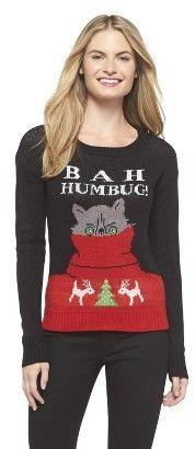 Bah Humbug Ugly Christmas Sweater Black - Xhilaration® Ugliest Christmas  Sweater Ever 21e8c8ee9