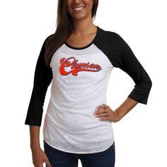 Clemson Tigers Ladies Burnout Baseball Long Sleeve Raglan T-Shirt - White/Black