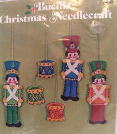 Bucilla Toy Soldiers Christmas Ornament Kit Felt Applique Sequin Jeweled Set 6  | eBay