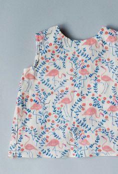 Girls Handmade Cotton Flamingo Print Tank | blytheandreese on Etsy