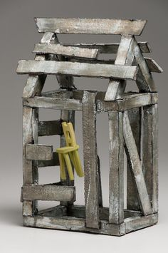 Mary Fischer - I loved the artist description on the Texas Clay Festival's… Clay Houses, Ceramic Houses, Book Sculpture, Abstract Sculpture, Art Haus, Crooked House, Architectural Sculpture, Kitsch, Fairy Garden Houses