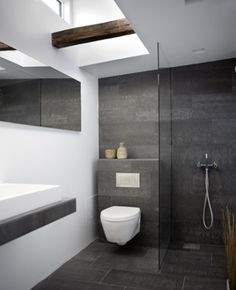 I like the white on charcoal contrast and the wall texture